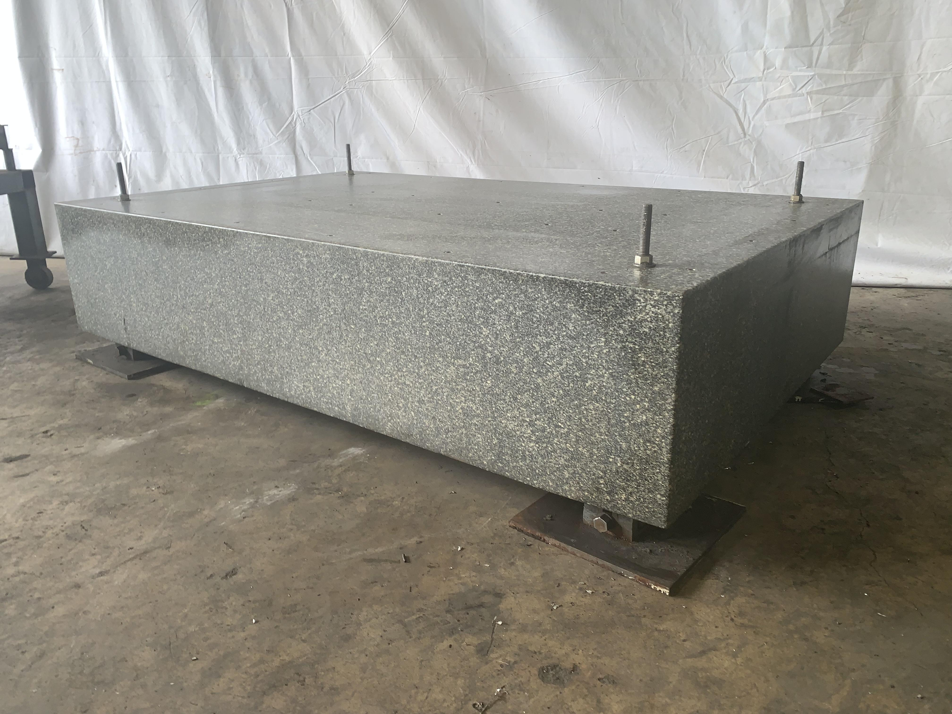 """72"""" X 44"""" X 16"""" GRAY DRILLED & TAPPED GRANITE SURFACE PLATE WITH LEVELING BASE: STOCK #10985"""