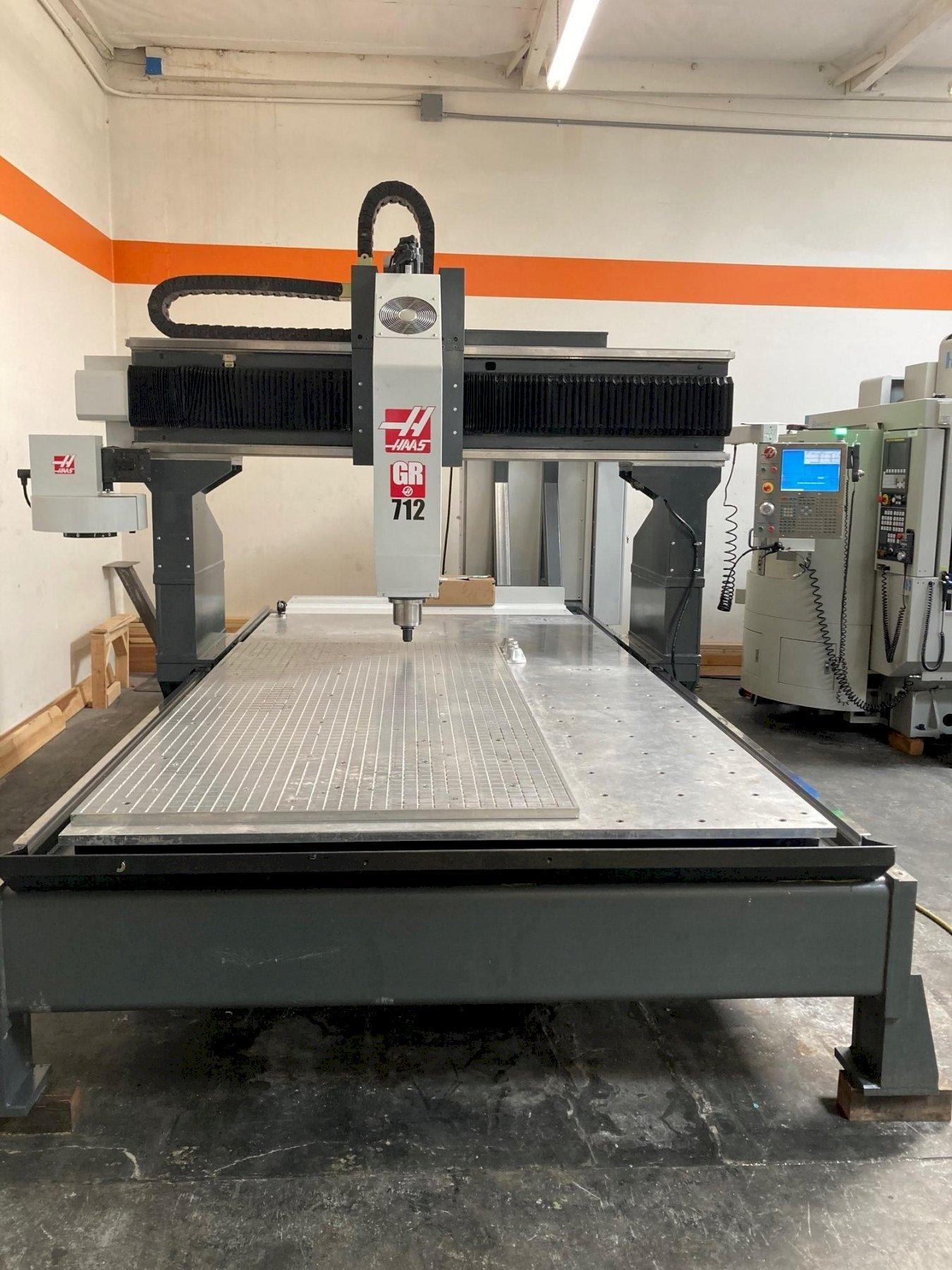 """Haas GR-712 CNC Router 2012 with: Haas HRT 4th Axis Rotary Table, Renishaw Probe, 24"""" Extended Z, High Speed Machining, Rigid Tap, and Intuitive Programming."""