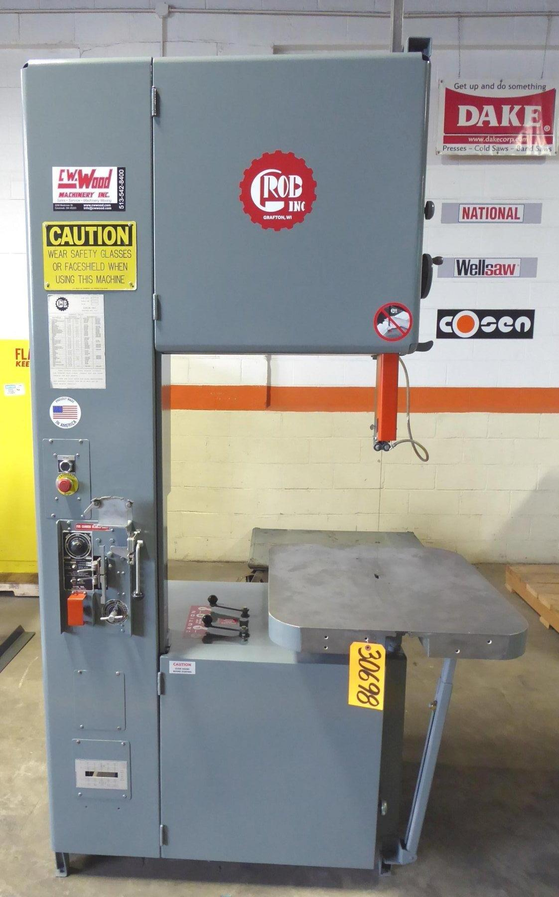 24″ Grob Vertical Band Saw No. 4V-24, 40-5000 FPM, 28″ x 24″ Air Feed Tbl., 12″ Under Guide, 1999