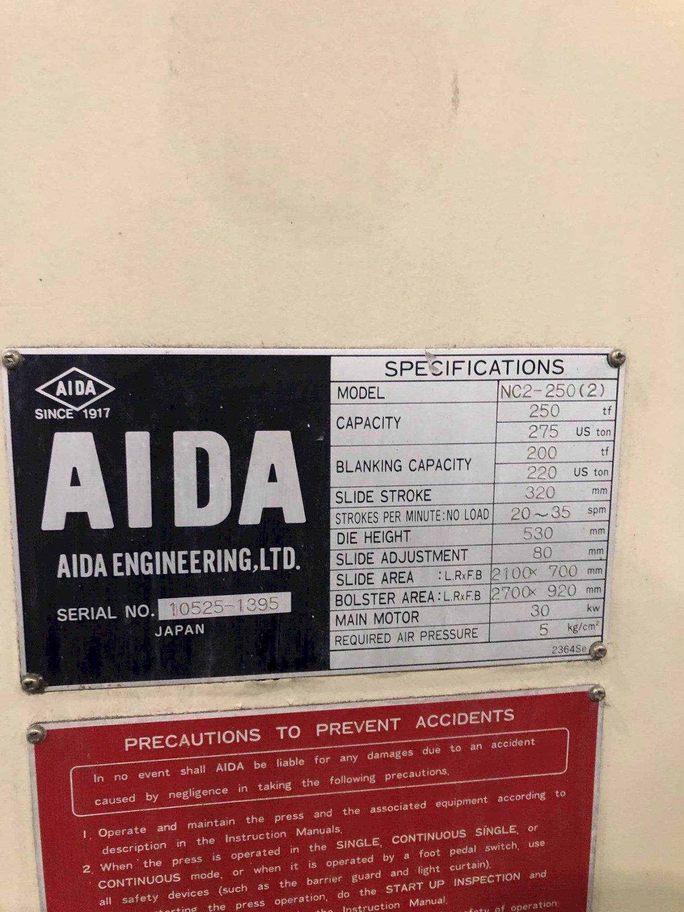 275 Ton Aida Double Crank Gap Frame Press