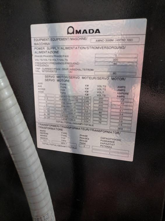 80 TON x 8' AMADA ASTRO 100 FBD-8025 CNC PRESS BRAKE