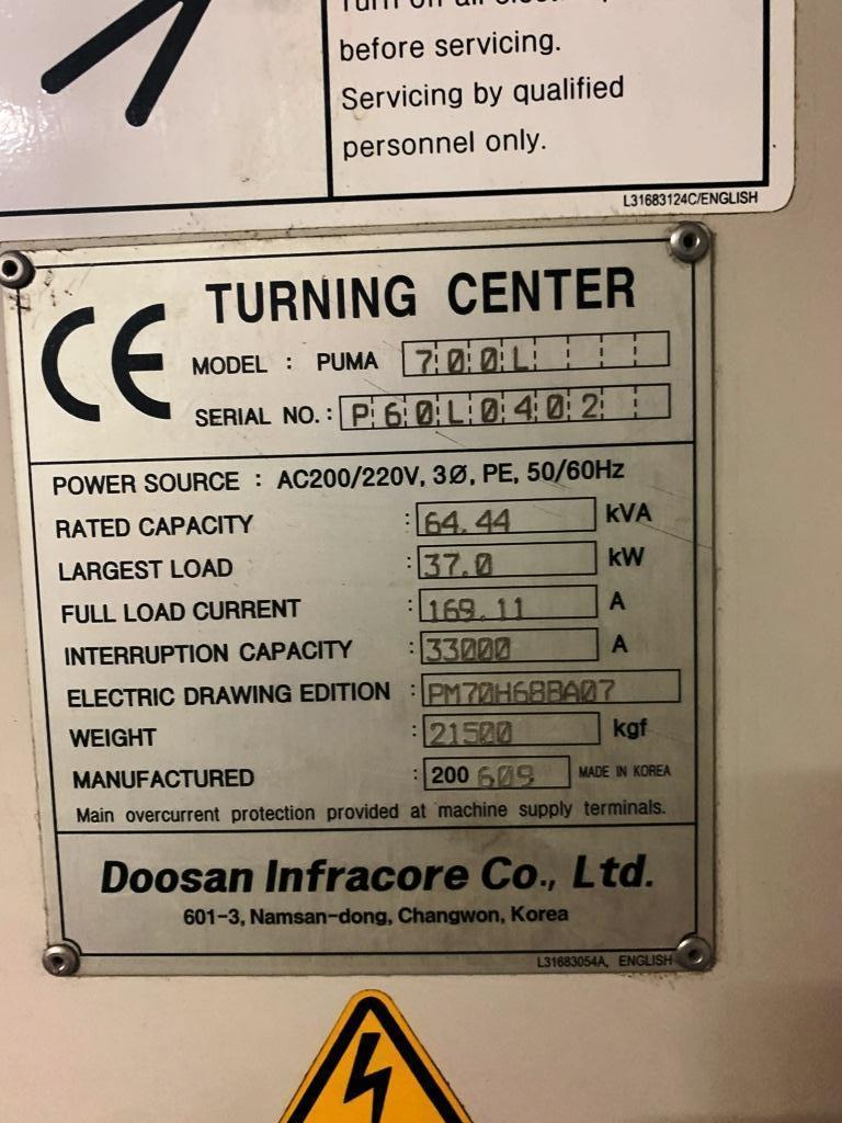 """DOOSAN MODEL PUMA 700L 40"""" X 120"""" SLANT BED BIG BORE CNC LATHE"""