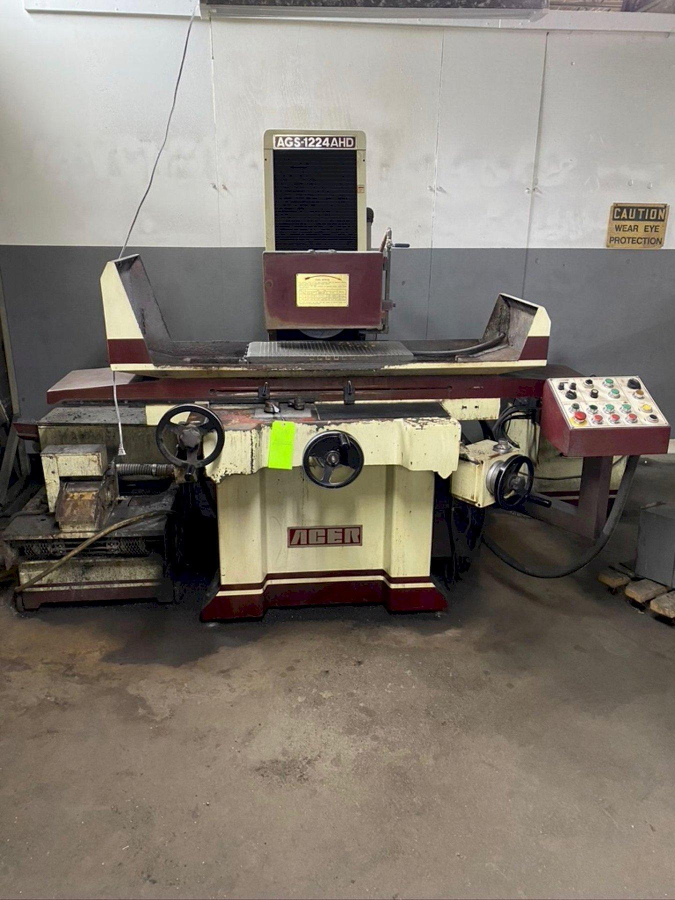 "12"" x 24"" Acer Model AGS-1224 AHD, Hydraulic Surface Srinder, Electro Magnetic Chuck, Hyd Table, Coolant Tank, Year 2005"