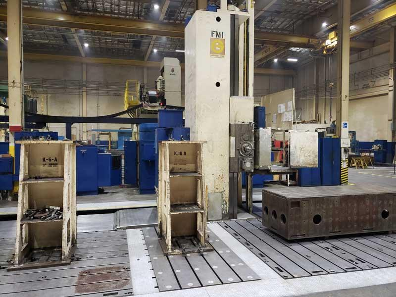 """(2) 6"""" GIDDINGS & LEWIS CNC Floor Type Boring Mills, Model 70-H60-UF, GE CNC Controls, 120"""" x 480"""" Floor Plate, X=480"""", Y=144"""", Z(Quill)=60"""", 120"""" Diameter Infeed CNC Rotary Table, 50 HP, 1020 RPM, 12x12 Under Spindle Support, New 1974."""