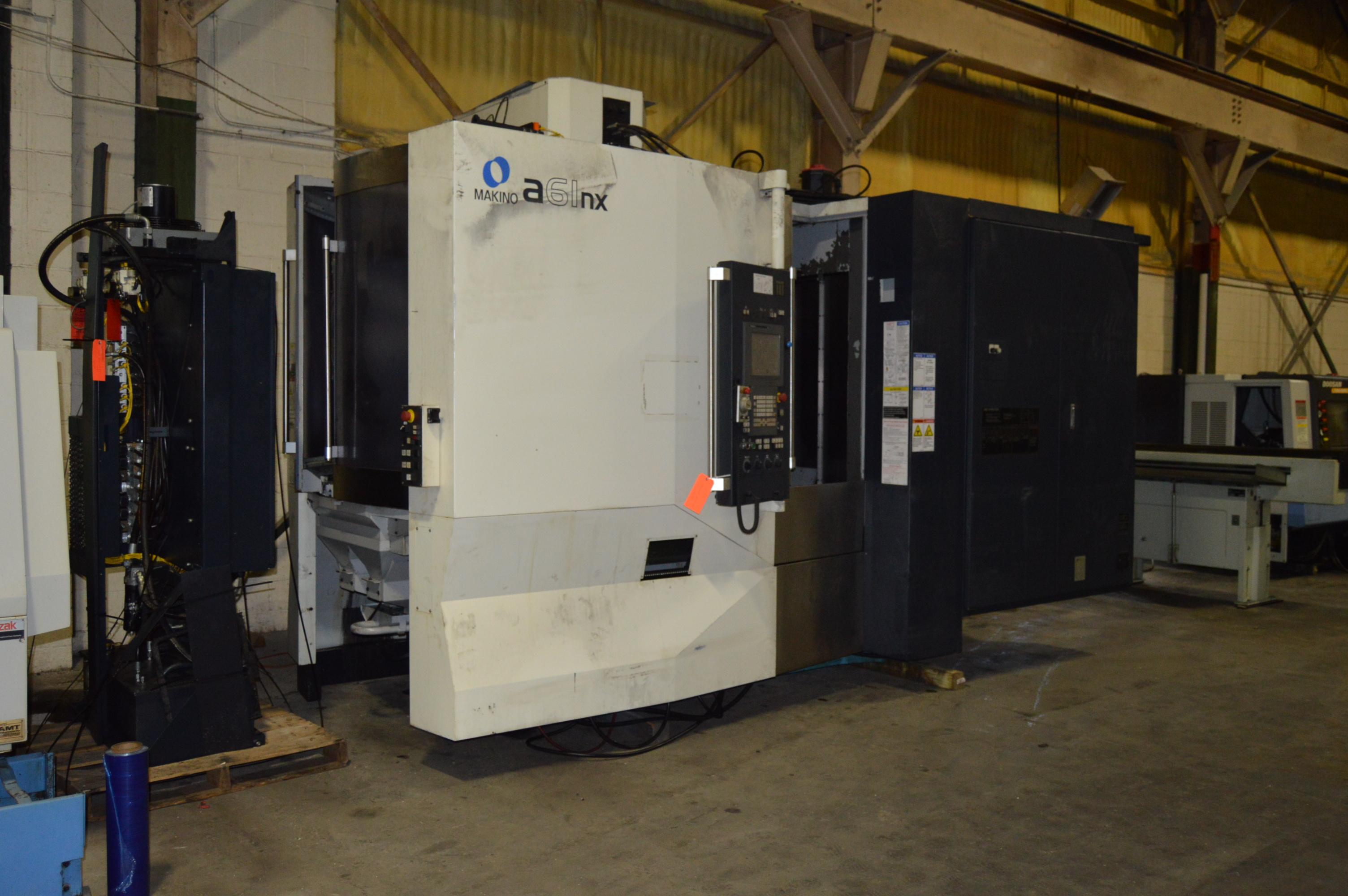 "Makino A-61NX CNC Horizontal Machining Center, Fanuc Pro 5 Control, CTS, 29""/26""/32"" Travel, Full 4th, 40 Taper, 60 ATC, New Spindle ('19), Hyd. Clamping (4) Available, 2012"