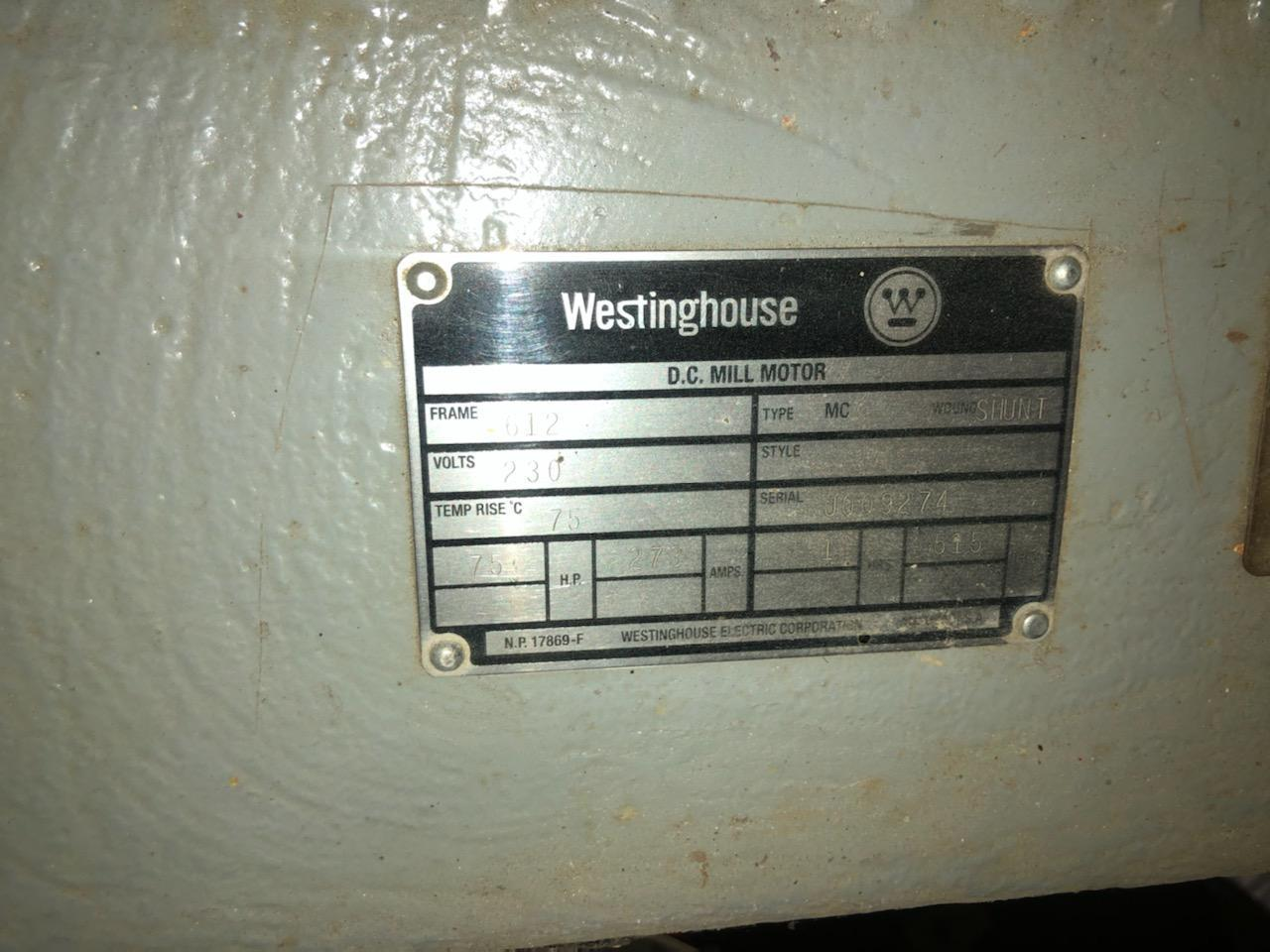 75 HP WESTINGHOUSE DC MILL MOTOR