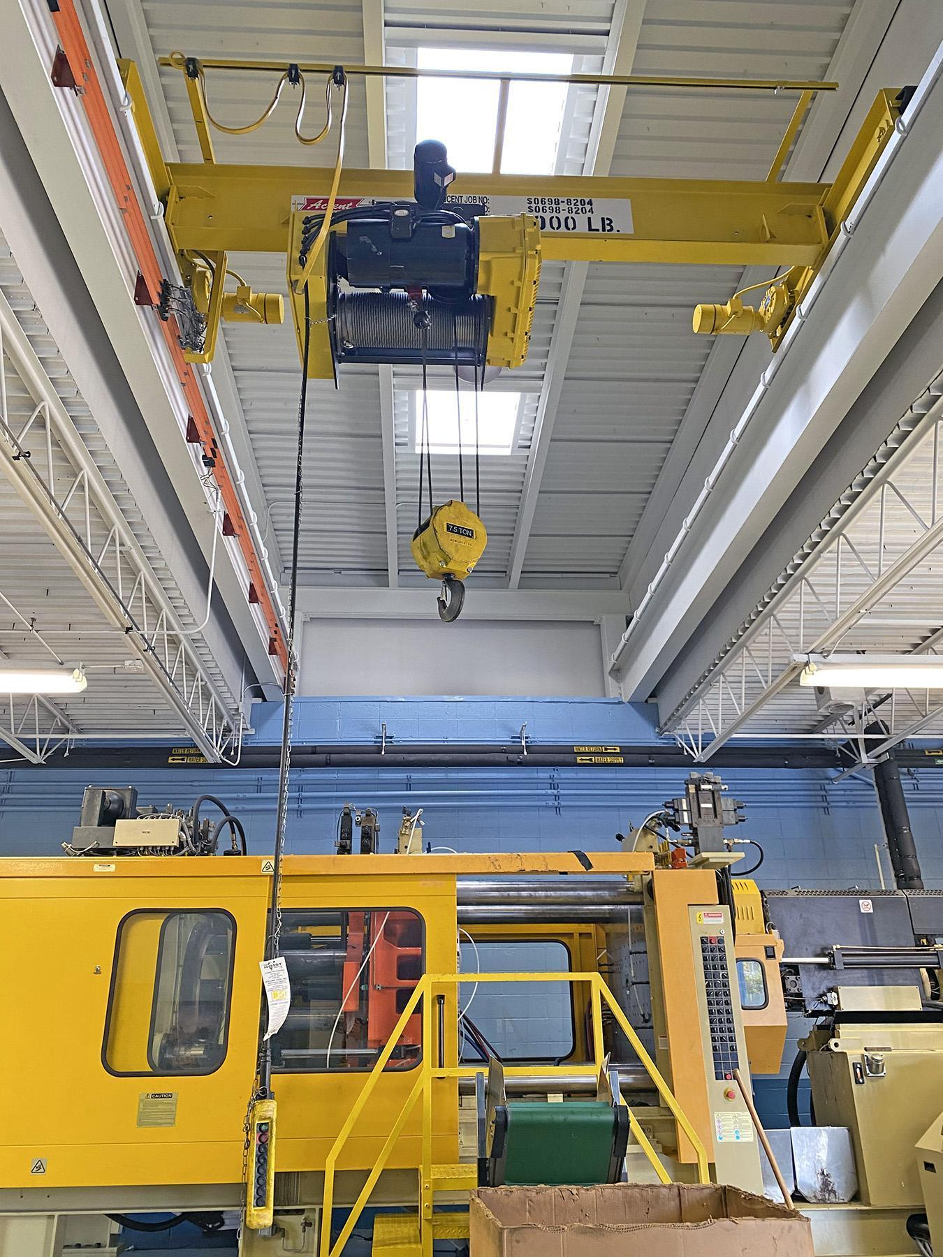 USED, 7.5 TON TOP RUNNING OVERHEAD CRANE (ACCENT SALES & SERVICE CO., INC.)