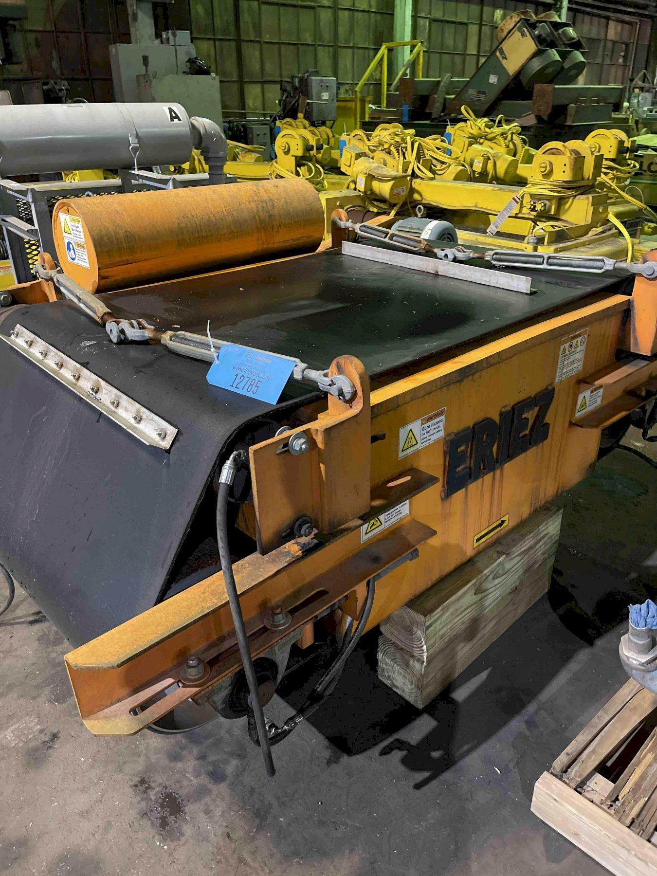 "eriez cross belt magnetic conveyor 42' x 42"" x 20.5 belt with controls"