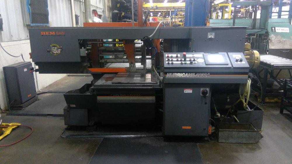 "Used HEM FULLY AUTOMATIC HORIZONTAL MITERING BANDSAW, Hurricane 2030A Complete with Powered Conveyors (20'), 5' Stock Table, 20""x30"", Stock No. 10513"