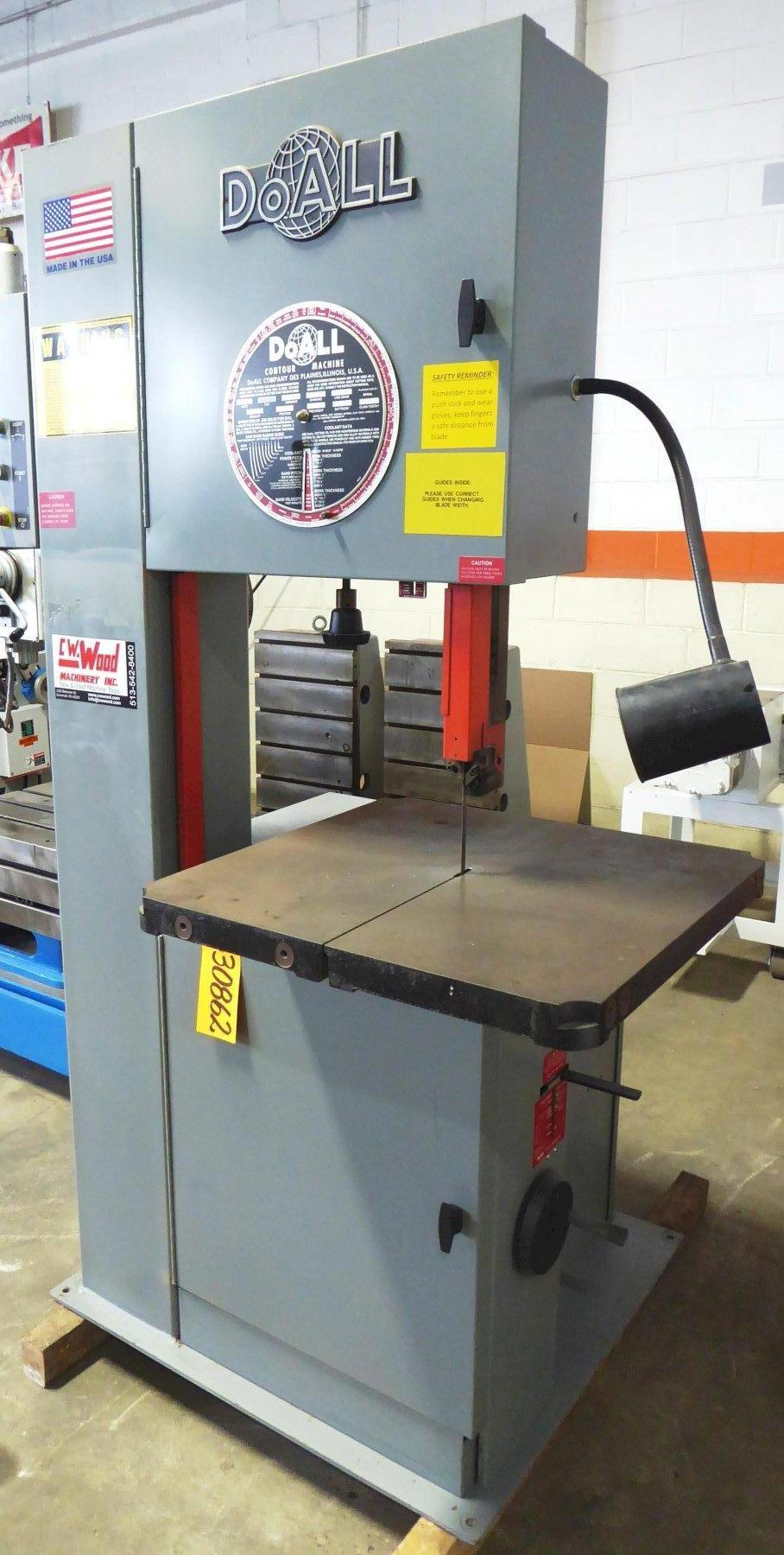 20″ DoAll Vertical Band Saw No. 2013-V, 13″ Under Guide, 55-2200 FPM, 26″ x 26″ Tbl., Nice