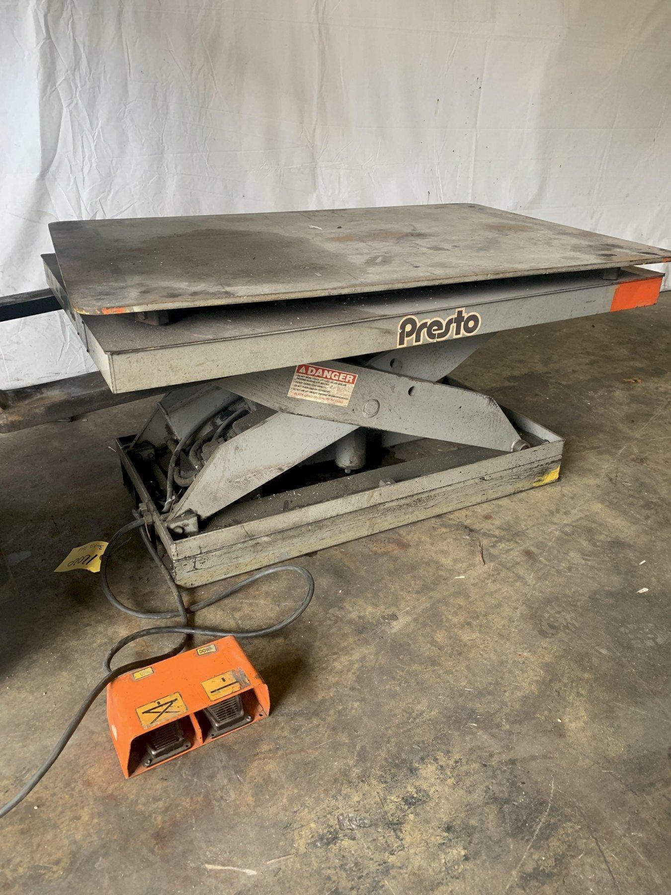 "2000 LB X 36"" X 56"" PRESTO HYDRAULIC SCISSOR SWIVEL TOP LIFT TABLE"