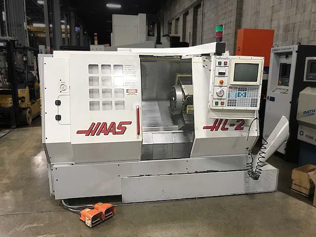 """Haas HL-2, Haas CNC Control, 20"""" Swing, 8"""" Chuck, Collet Chuck, Programmable Tailstock with 24"""" Centers, 10 Position Tool Turret, 15 HP, 3750 RPM, New 1998."""
