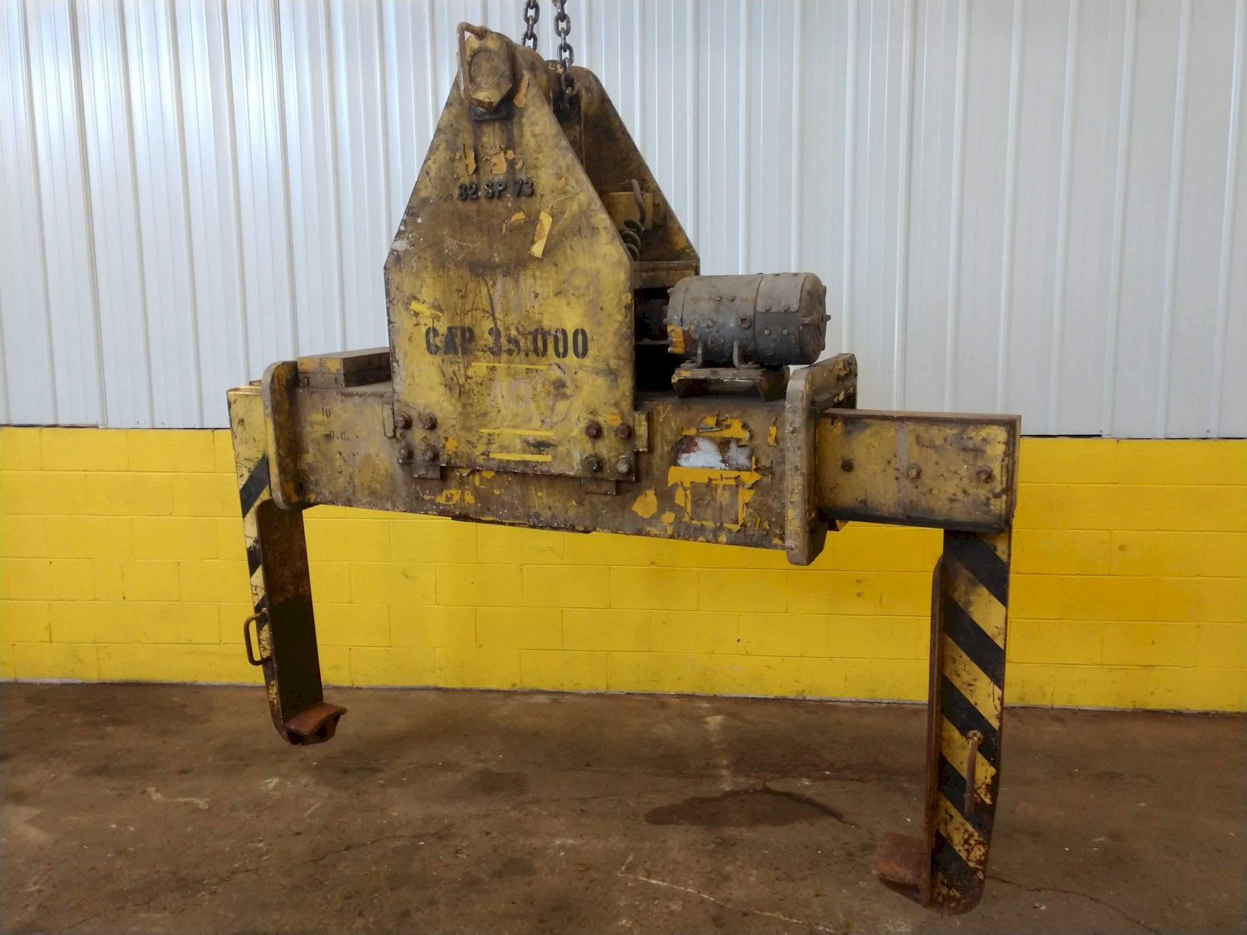 "35,000 LB X 17"" TO 69"" X 60""  OD BRADLEY CRANE MOTORIZED COIL GRAB: STOCK 13226"