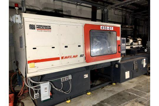 Cincinnati Milacron Used MM450 Injection Molding Machine, 450 US ton, Yr. 2001, 18 oz.