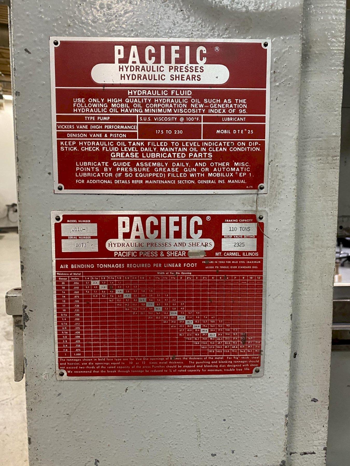 USED PACIFIC 110 TON X 8' HYDRAULIC PRESS BRAKE MODEL J1108, Stock# 10882, Year: 1989