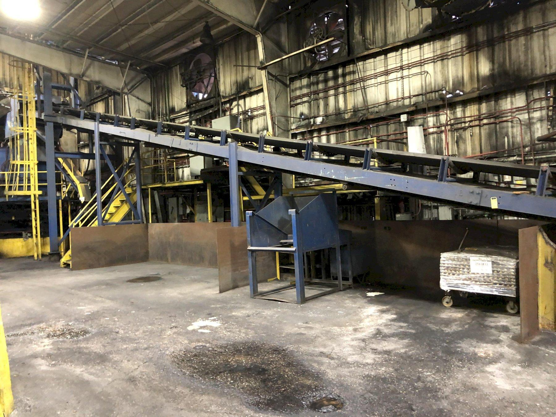"""30"""" X APPROX. 70' INCLINE BELT CONVEYOR WITH DRIVE, SMALL BOND OR NEW SAND HOPPER WITH FEEDER"""