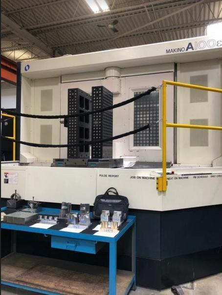 """Makino A100E CNC Horizontal Machining Center, Fanuc Pro 5 Control, 67""""/53""""/55"""" Travels, 12K Spindle, 132 ATC, CTS, 50 Horsepower, Chip Blaster, Laser, 39"""" Pallets, Full 4th Axis, 2008"""