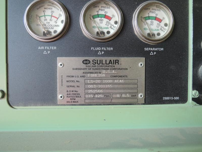 SULLAIR MODEL LS-20 100 HP SCREW TYPE AIR COOLED AIR COMPRESSOR S/N 003-101165, APPROX. 10,409 HOURS