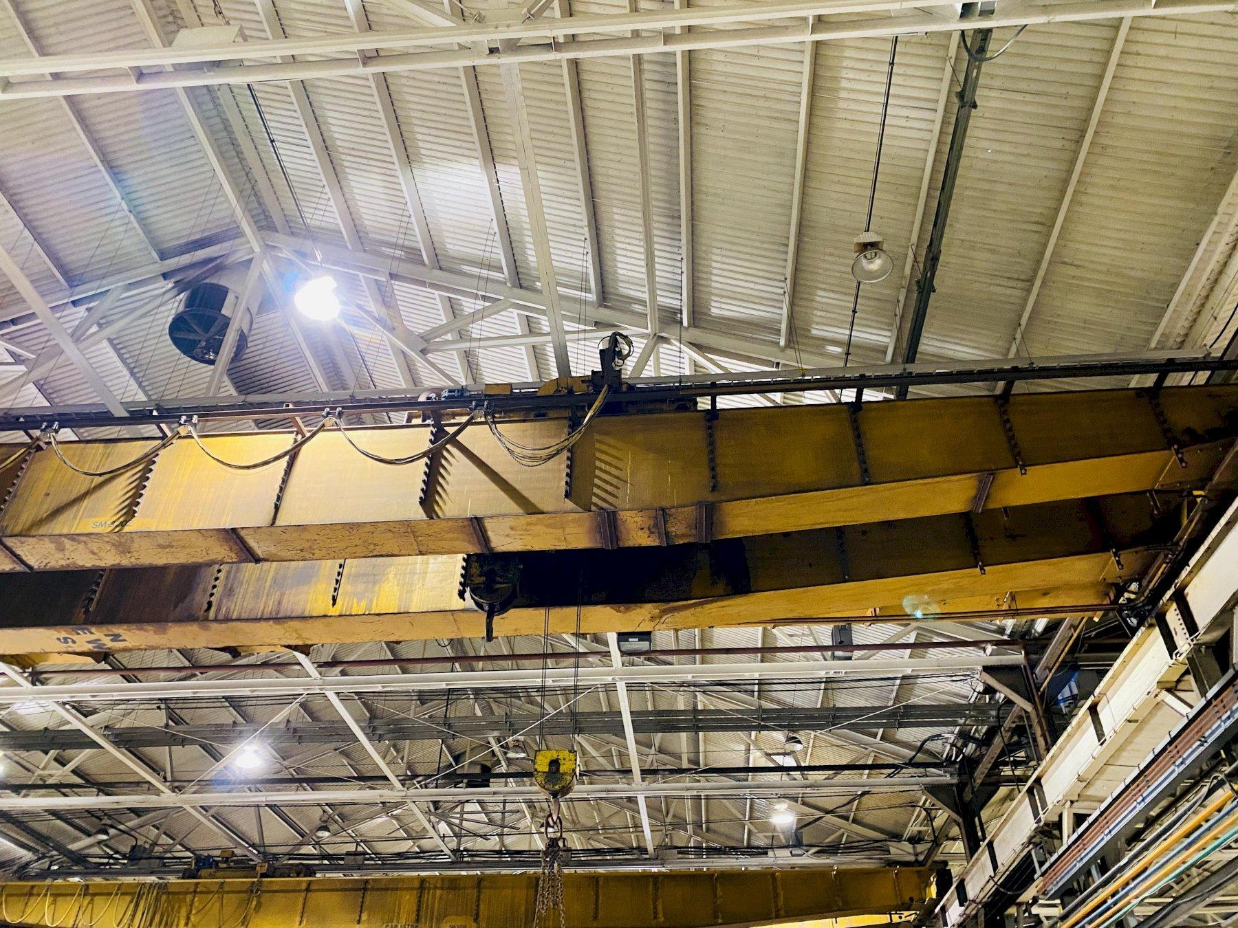 "15 TON X 103'4"" P&H OVERHEAD BRIDGE CRANE WITH 5 TON AUXILIARY. STOCK # 0733720"