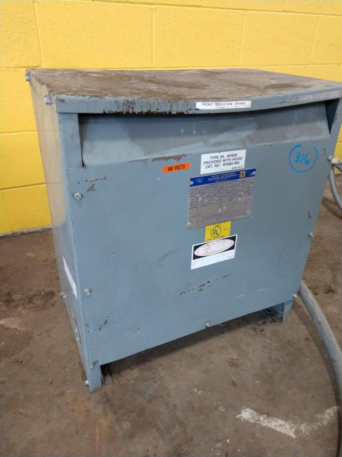 45 KVA SQUARE D 480 TO 480Y/277 VOLT ELECTRICAL TRANSFORMER : STOCK #11921