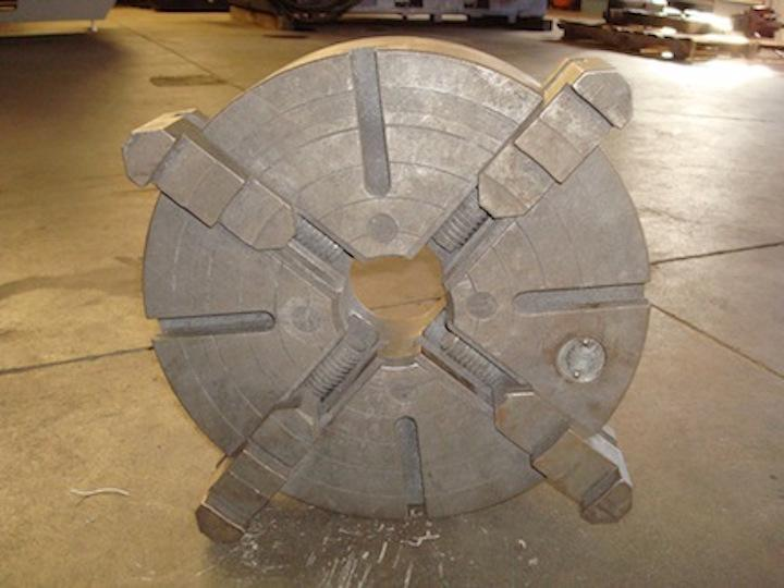 """15"""" Cushman 4-Jaw Independent Chuck - Flat Back - 3 1/4"""" Thru Hole - 3 3/4"""" Thick - 4 T-Slots - Solid Reversible Jaws"""
