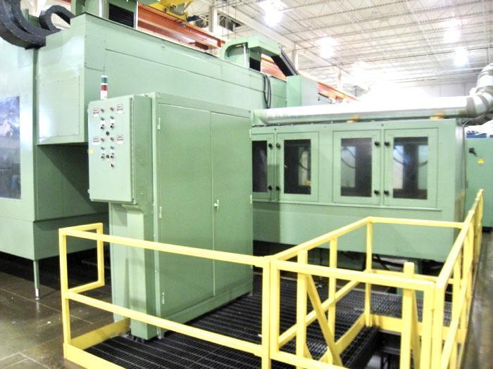 """Pre-owned: Favretto Dual Head Surface Grinder Model: MG 300 2T  Dual Heads, CNC Rough And Finish Grinding Dual Siemens Controls Model Sinumerik 840C Table Size: 59.05"""" x 118.11"""" 6-Magnetic Chucks: 59"""" x 19.68"""" each"""