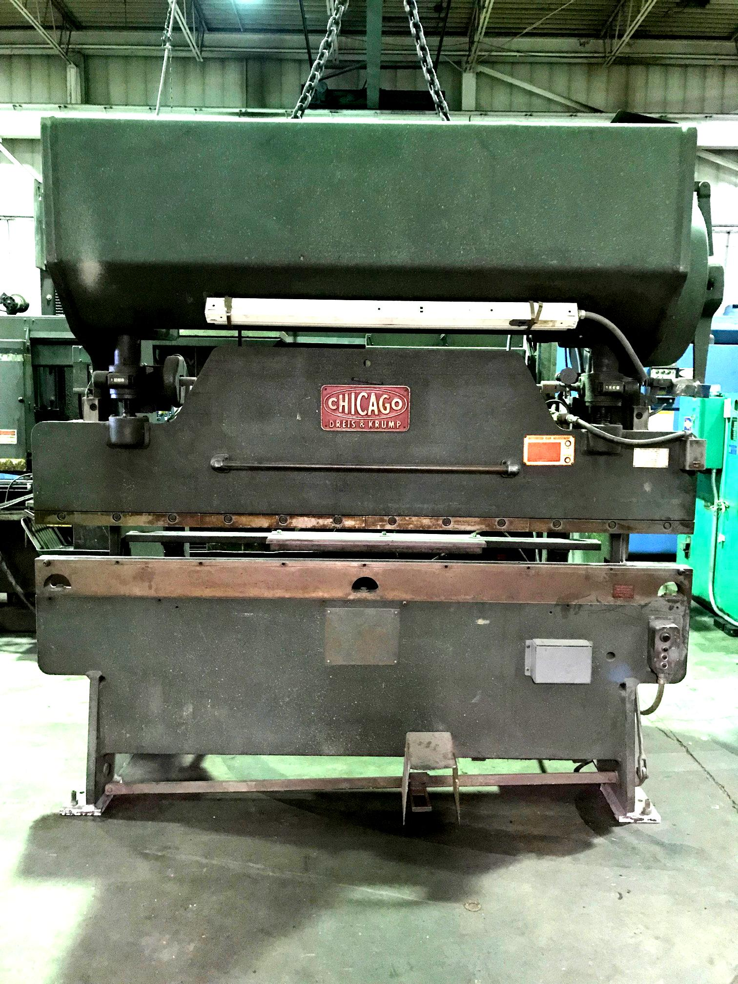 USED CHICAGO D&K 8' X 55 TON MECHANICAL PRESS BRAKE MODEL 68-B, Stock 10602, Year 1965