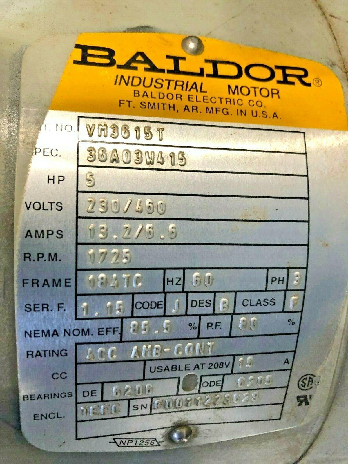 BALDOR MOTOR P/N VM3615T, 5HP, 208-230/460V. 1725 RPM