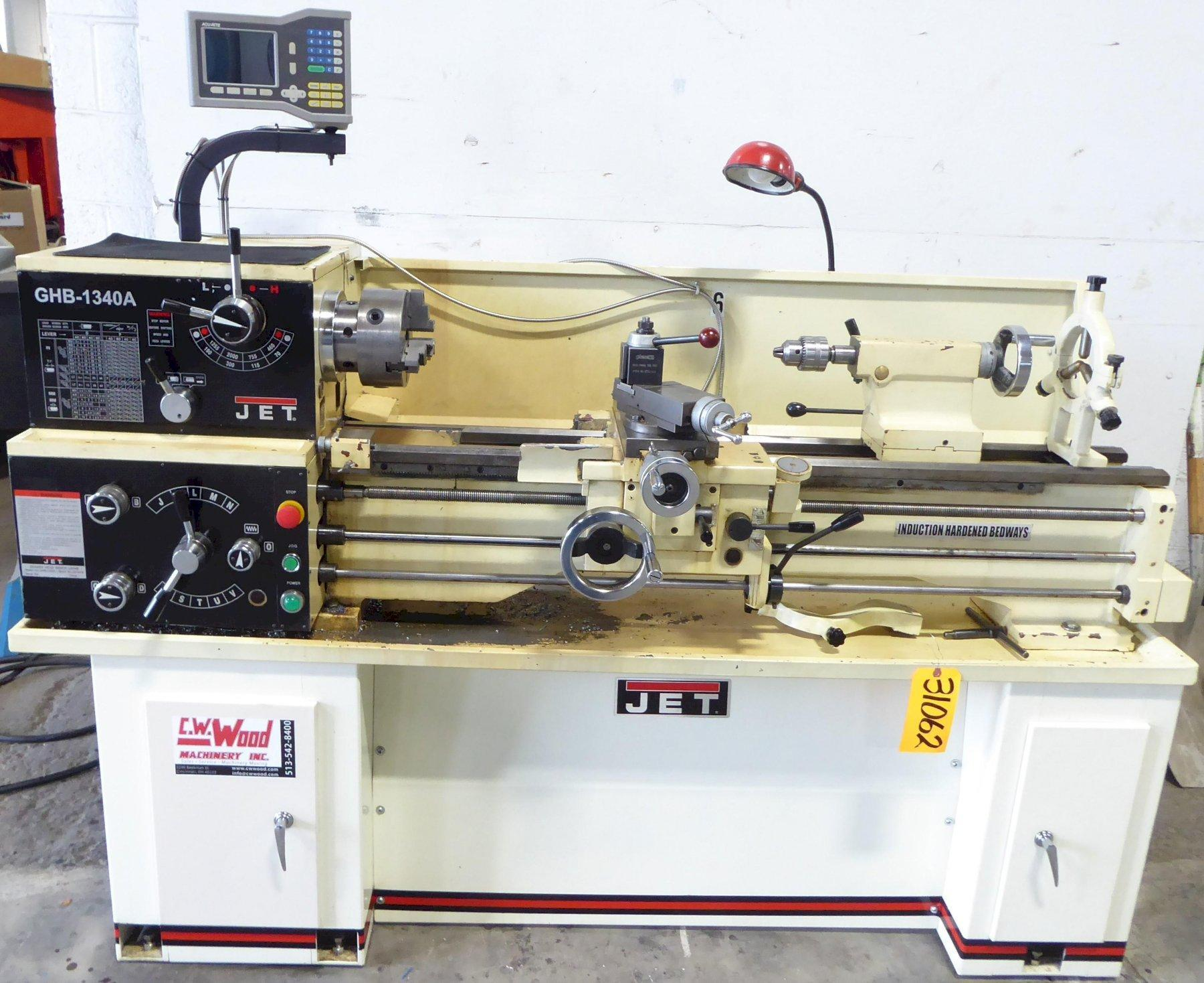 """13"""" x 40"""" Jet Gap Bed Lathe GHB-1340A, DRO, Well Tooled, 1 Phase, Nice"""