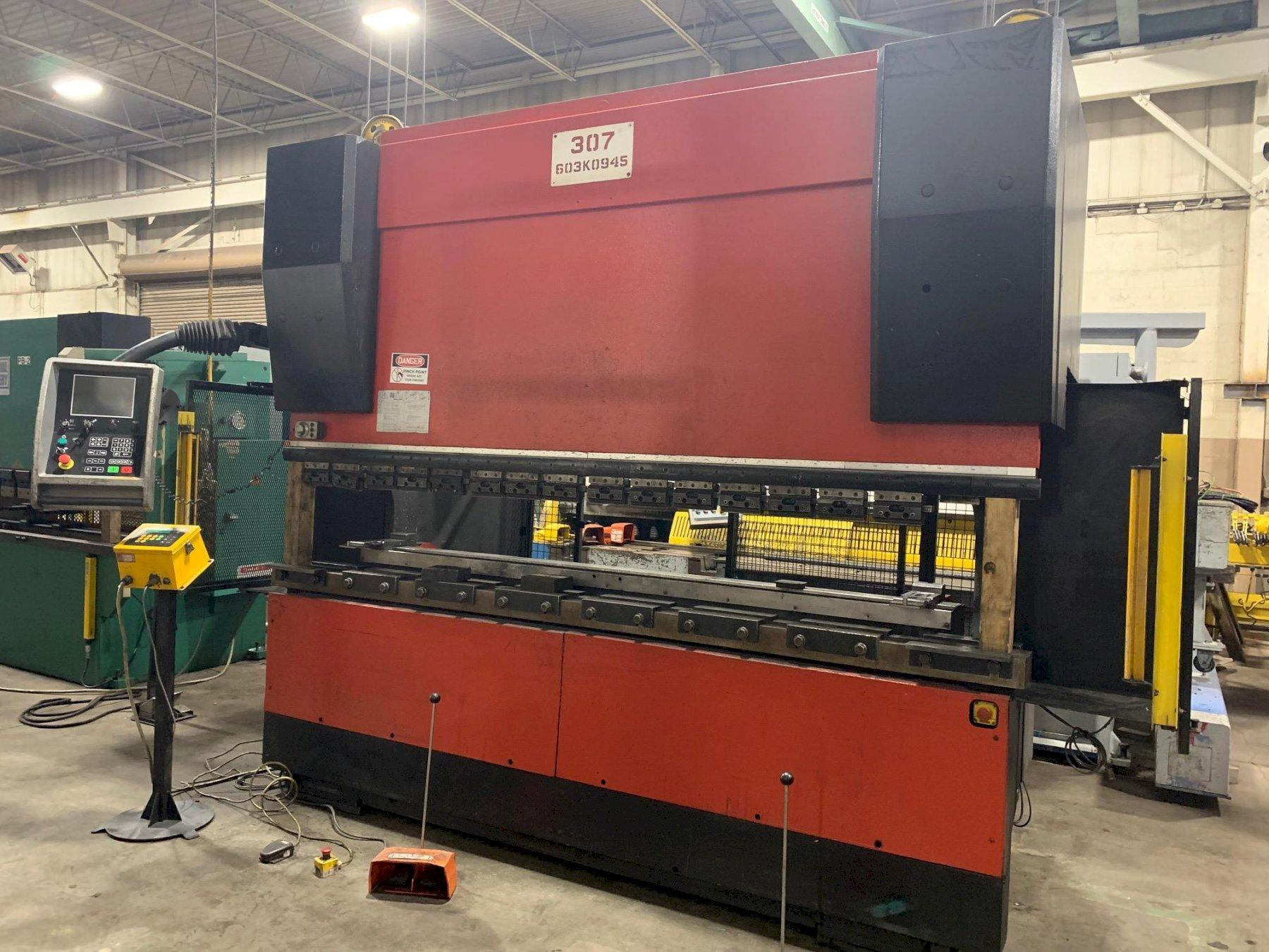 USED AMADA 187 TON X 10' MODEL HFE 1703S 6-AXIS HYDRAULIC DOWNACTING CNC PRESS BRAKE, Stock# 10729, Year 2004