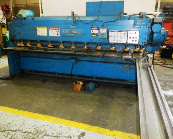 "10' x 10 GA. CINCINNATI #1010 MECH SHEAR, 10' SQR ARM, 36"" FOPBG, AUTO SHEAR PROBES, REAR SHEET SUPPORTS, 1971 10230"