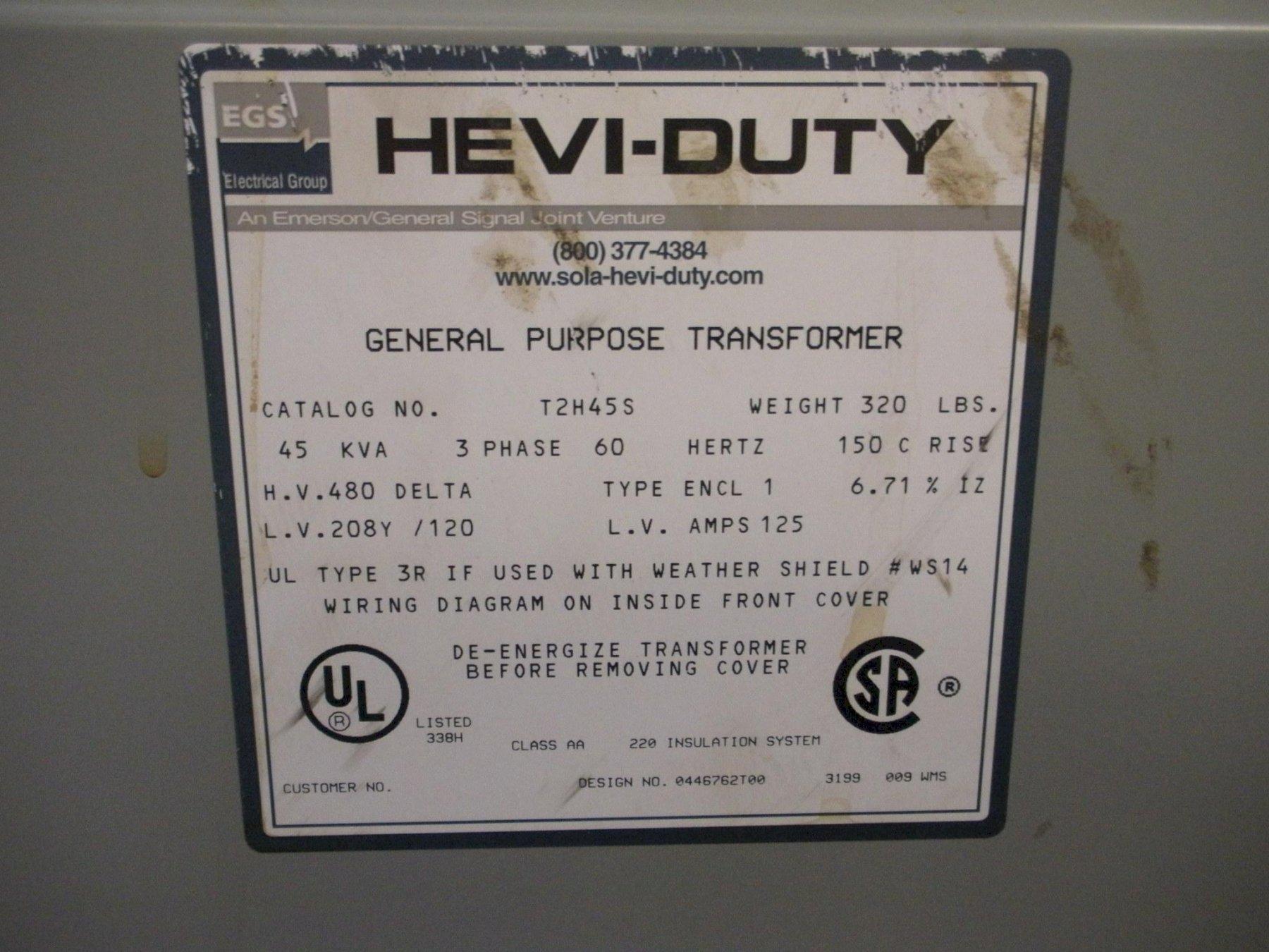 1 Lot of (4) Transformers (Hevi-Duty) 45KVA and 30KVA