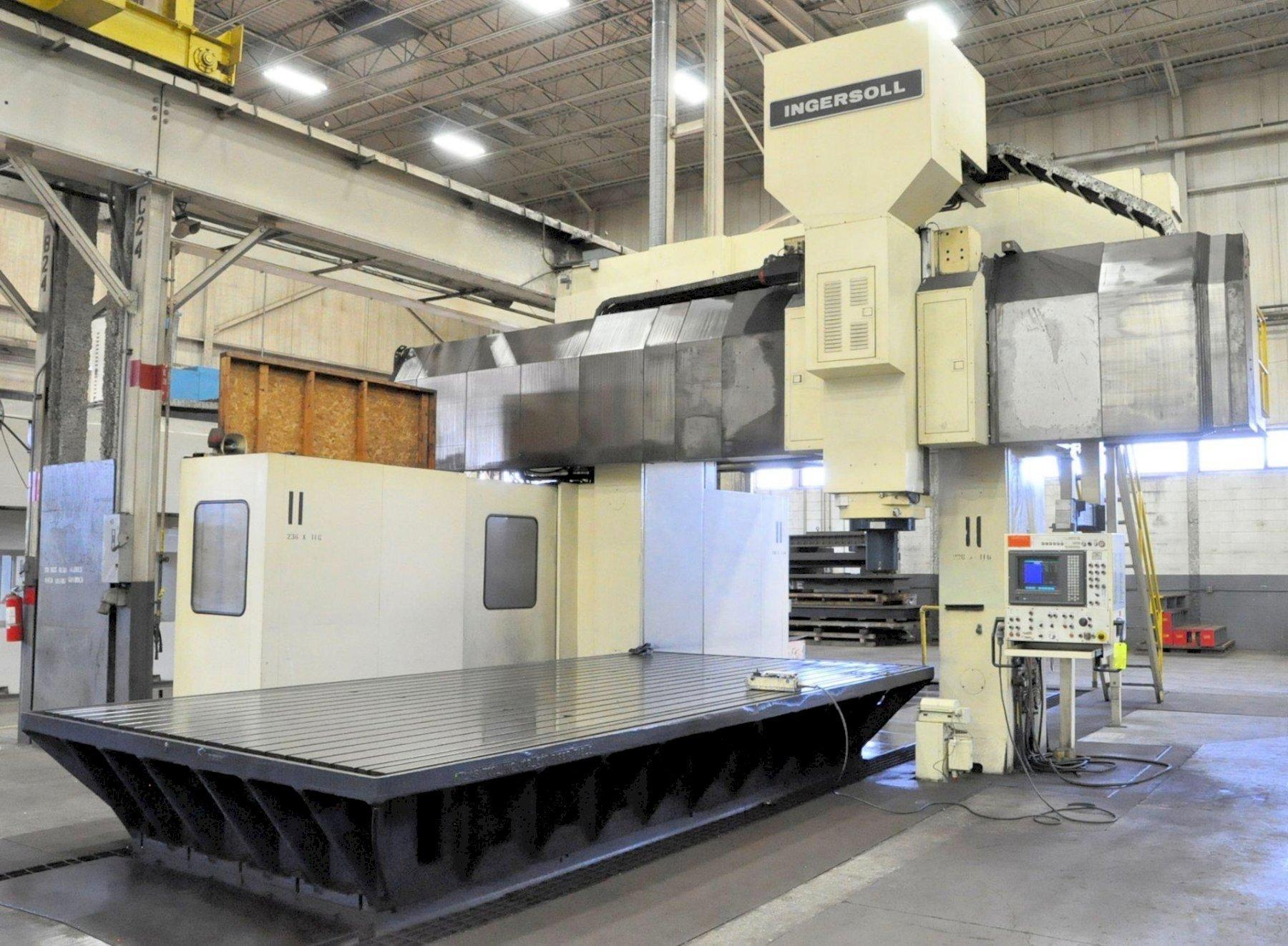"Ingersoll Model Master Center 5-Axis Gantry Type CNC Vertical Machining Center, , 236"" x 116"" Table Size, 216.5"" X-Axis, 98.4"" Y-Axis, 53.1"" Z-Axis,  Automatic head Changer, Oil Cooler, Chip Conveyor, 1995, (2) Avail"