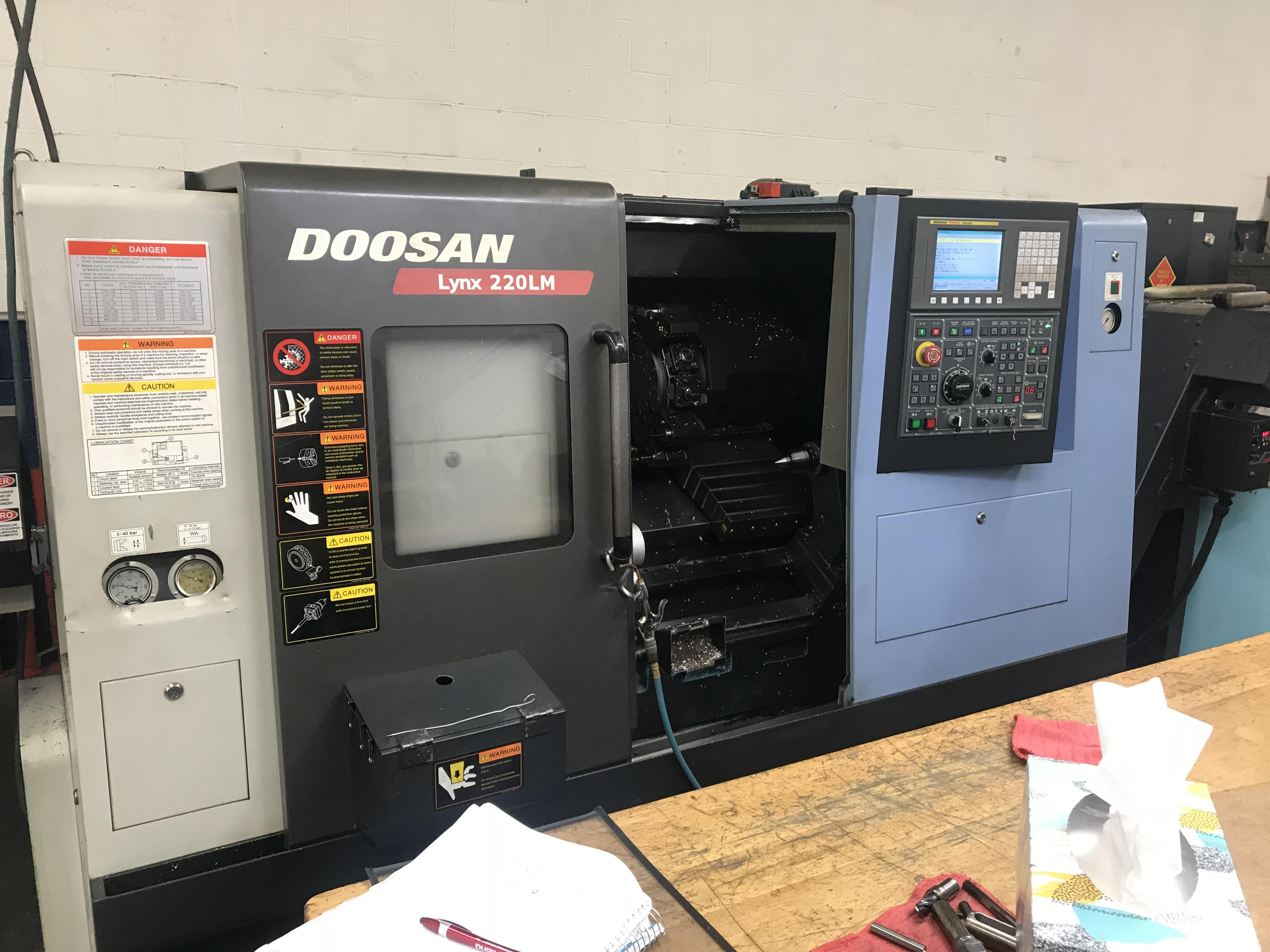 "Doosan Lynx 220LMA CNC Lathe, Fanuc i, 6"" Chuck, 24 Position Turret, Live Milling, Parts Catcher, Probe, Live Holders, Std Holders, Bar Feed, Low Hours, 2013"