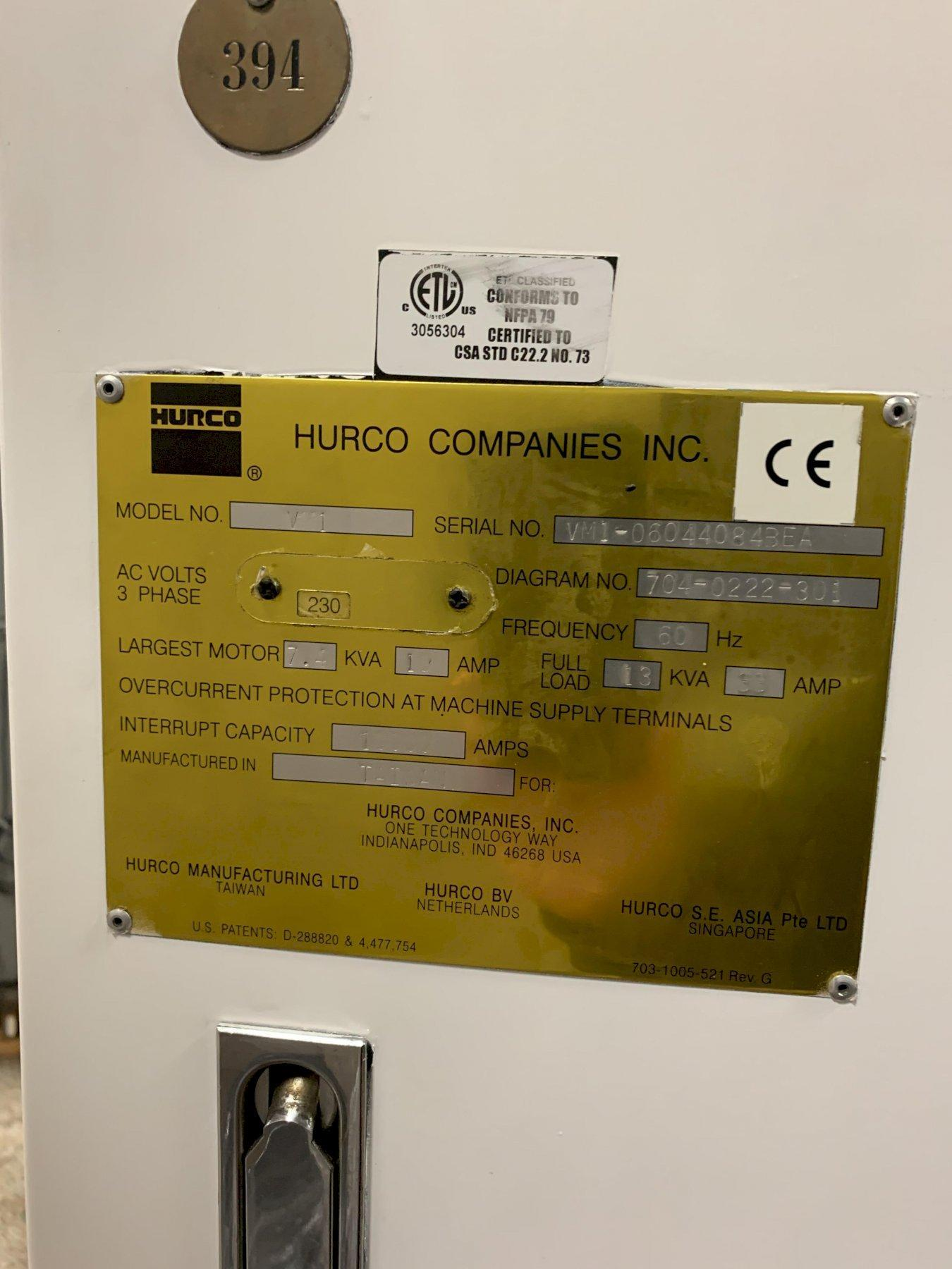 Hurco Model VM1 CNC Vertical Machining Center, New 2004.