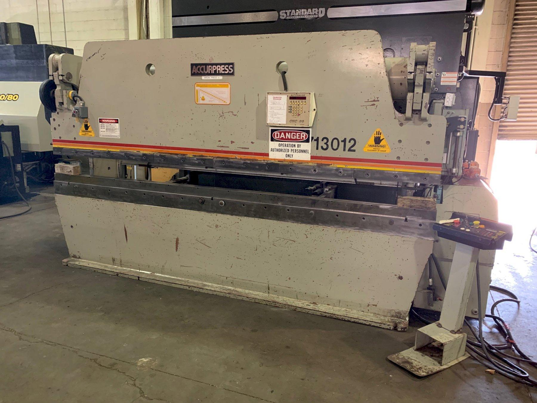 USED ACCURPRESS HYDRAULIC CNC PRESS BRAKE , Model 713012, 130 tons x 12', Stock No. 10534