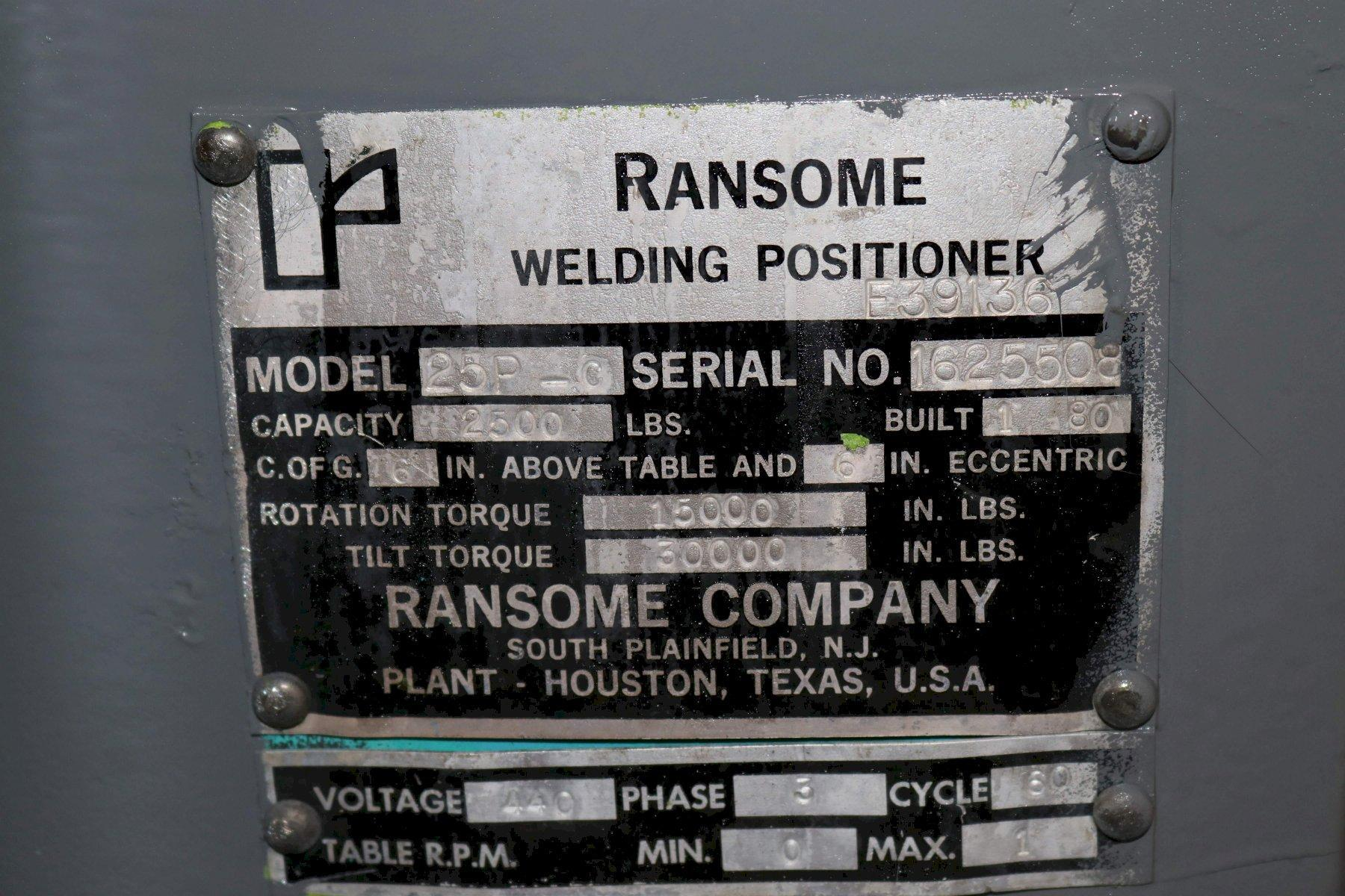2500 LBS RANSOME WELDING POSITIONER: STOCK #72949