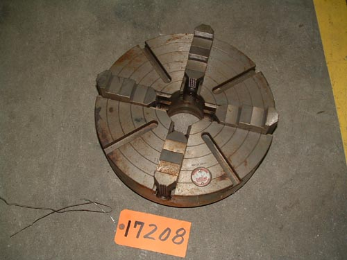 "15"" Cushman, 4-Jaw,Steel chuck,L-1 back,3 3/16"" Hole.1 piece jaws"