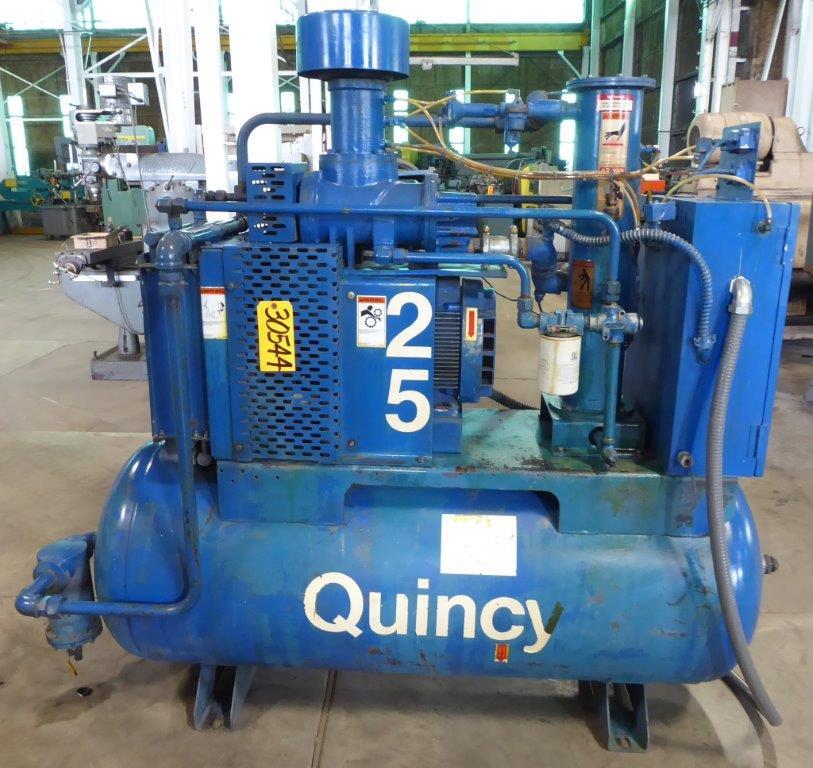 105 CFM, 125 PSI, Quincy No. QST, 25 HP, Horiz. Tank, Clean