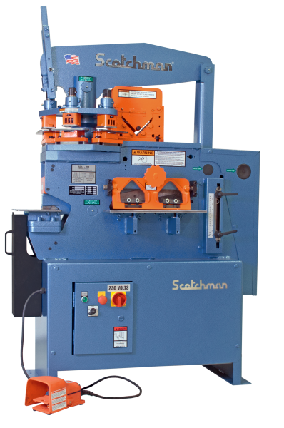 4″ x 4″ x 3/8″ SCOTCHMAN Hydraulic Ironworker No. 5014-ET, Hyd, 50 Ton, 3-Station Revolving Turret, New