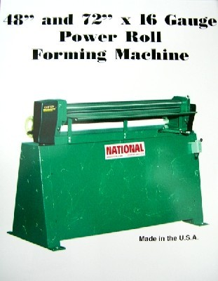 4' x 16 Ga., NATIONAL, No. NR4816, Power, 3-Roll Drive, New