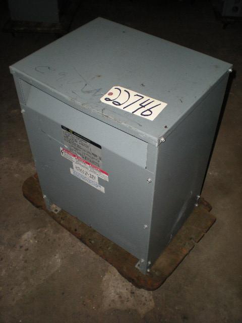 15 KVA, Pri. 480 V, Sec. 240 V,120 V, SQUARE D, DRY,Cat. No. 15S1H