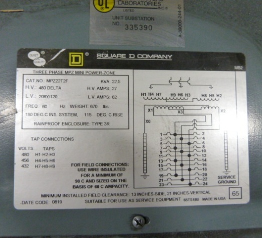 22.5 KVA, SQUARE D, Pri 480, 208Y/120 Sec., MPZ22T2F Mini Power Zone, Never Used
