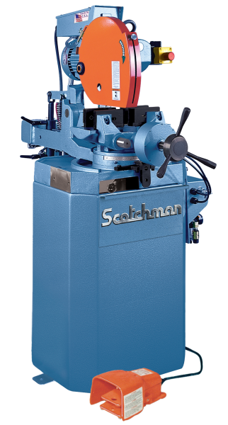 14″ SCOTCHMAN No. CPO-350 VSPKPD, Miter, V-Speed, 2″ Solids, 4″ Tube, Power Downfeed, Air Vise, 5 HP, New, Must be ordered.