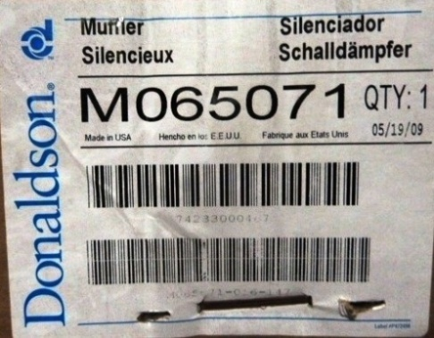 DONALDSON Muffler , No. M065071,New-never used, in box. (24) Available