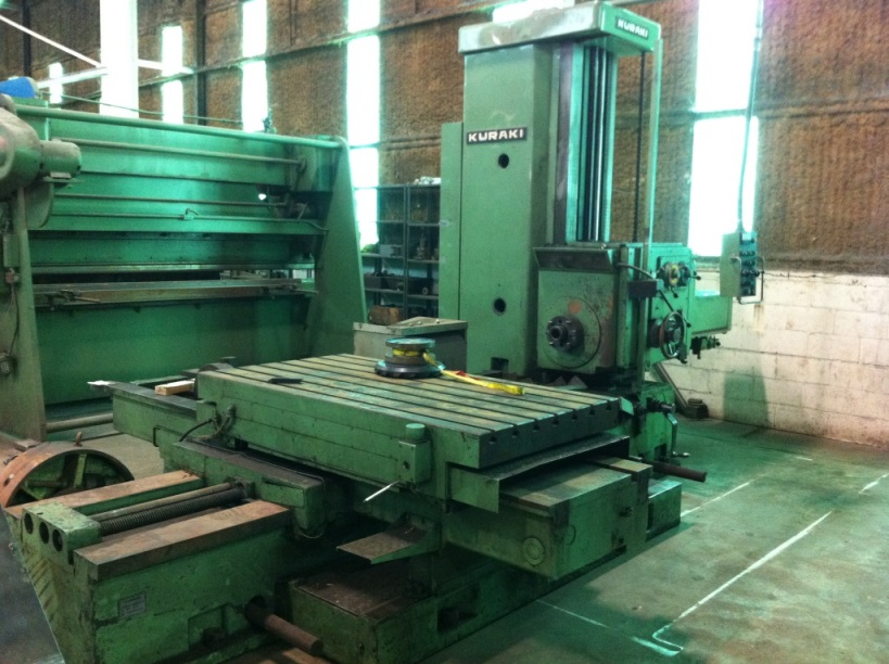 4″ KURAKI Horizontal Boring Mill, No. KBT-101, 35″ x 67″ Table, 48″ Vertical, Facing Head, 15 HP