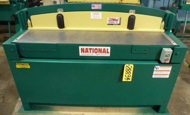 52″ x 16 Ga. NATIONAL Power Squaring Shear No. NH5216, Hyd., Back Gauge, Front Arms, New, In Stock