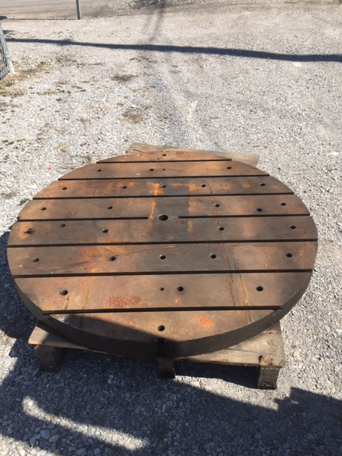 """59-3/4"""" ROUND T-SLOTTED PLATE, 3-7/8"""" Thick, (7) T-Slots"""