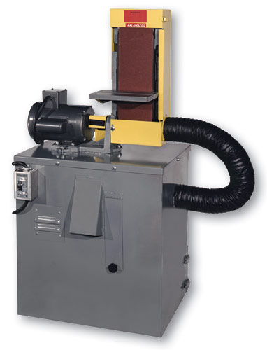 6″ KALAMAZOO No. S6MV, 48″L Belt, 6″ x 10″ Tbl., 3500 SFPM, 3 HP, Dust Collector & Stand, New