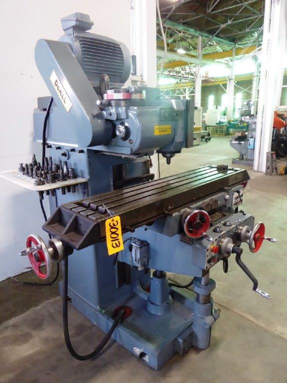 DoAll No. FVH-205, Horizontal/Vertical Mill, 12″ x 53″ Tbl., 31″ Long., 40 Tpr, 40-1500 RPM, 8 HP, Nice
